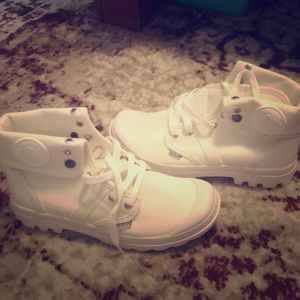 White sneaker style boots